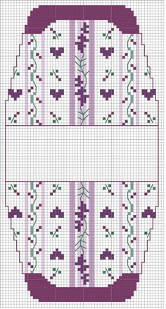no color chart available, just use pattern chart as your color guide. or choose your own colors.ru / Фото - сумочки игольницы - irisha-ira purple stripes & hearts for small purse Butterfly Cross Stitch, Mini Cross Stitch, Cross Stitch Needles, Cross Stitch Heart, Cross Stitch Flowers, Purse Patterns, Beading Patterns, Cross Stitching, Cross Stitch Embroidery