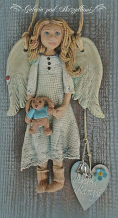 <3 Angel Ornaments, Diy Christmas Ornaments, Christmas Art, Christmas Themes, Crafty Angels, Diy Angel Wings, Clay Angel, Salt Dough Crafts, Handmade Angels