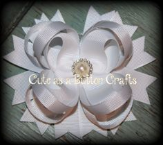 Beautiful hair bow Solid WHITE
