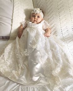 Pearl+beaded+Off+White/White+Lace+Christening+Baptism+by+Caremour
