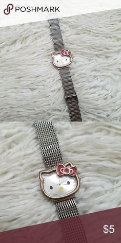 Hello Kitty Stainless Steel Watch Hello kitty. Adjustable. Batteries are dead. Good condition.   Offers are welcome! Hello Kitty Accessories Watches