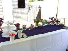Dessert Table With Colorful Candies Backyard Engagement Party Purple Spring Flowers Themed