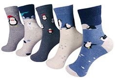 Flower Garden Cute Animals Penguin Colorful Women's Casual Socks Made in Korea (penguin 5 pairs)
