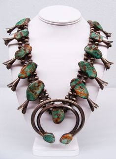 Early Antique Navajo Sterling Silver Royston Turquoise Squash Blossom Necklace