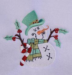 Prim Snowman Machine Embroidery Design