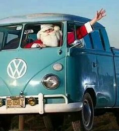 Santa and his transporter!! This is my kind of Santa
