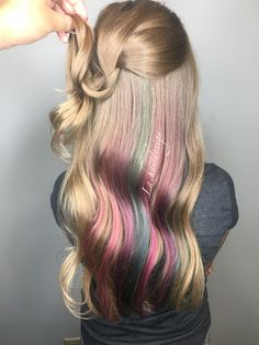 Peekaboo highlights unicorn haircolor blonde long hair pink purple teal