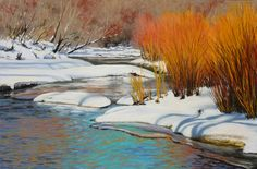 """""""Snow Show"""" going on through January at Framed   """"River Aglow"""" by Nancy Wylie 12 x 18 Pastel $825"""