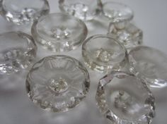 Vintage Buttons  Clear Depression glass cut glass by pillowtalkswf, $8.95