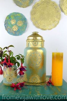 DIY Moroccan Inspired Lantern Made From Old Glass and Paper Doilies - Moroccan Decor Citronella Candles, Diy Candles, Candle Centerpieces, Candle Wax, Plain Wooden Boxes, How To Make Lanterns, Paper Doilies, Wood Candle Holders, Arabian Nights