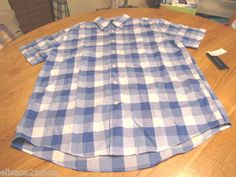 Men's Tommy Hilfiger shirt XL button up blue plaid color # 431 7817653 NEW NWT