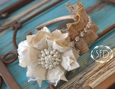 Ivory and Tan Ruffle Burlap Bridal Head piece by SweetFaithDesigns, $21.50