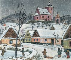 Josef Lada Children's Book Illustration, Old Houses, Folk Art, Cool Pictures, Christmas Decorations, Clip Art, Pottery, Watercolor, Retro
