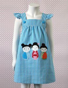 KOKESHI Pinafore Dress pattern and sewing instructions, 2-7 years, 92-122 cm. €4,70, via Etsy.