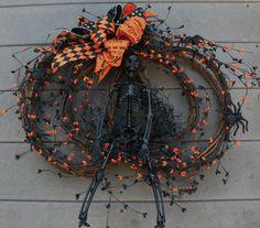 Pumpkin Halloween Wreath by jennifercausey on Etsy