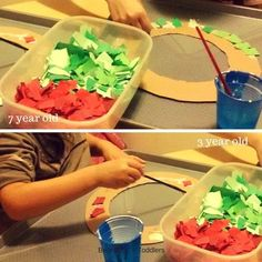 collage Christmas wreath with green and red pieces of paper, perfect fine motor skill practice combined with art