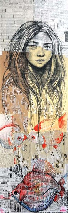 Stéphanie Ledoux Hong Kong goldfish market, version finale Format : 50x150 cm Technique : Sanguine et aquarelle sur collages