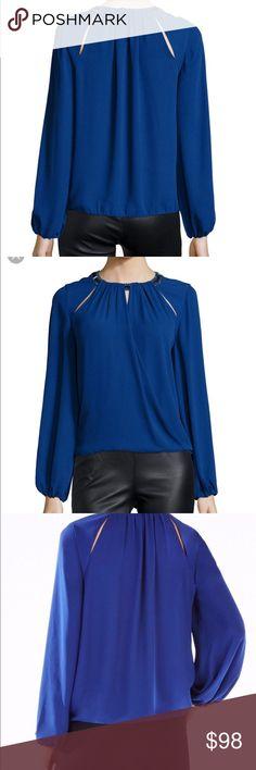 Women's Blue Kaelyn Embellished-neck Blouse Brand new Women's Blue Kaelyn Embellished-neck Blouse in deep royal blue BCBGMaxAzria Tops Blouses