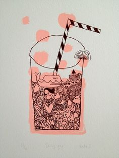 Milkshake Illustration, Cocktail Illustration, Illustration Graphic, Art Illustrations, Inspiring Illustration, Screenprint Renegadecraft,