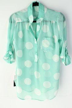 mint polka dot blouse