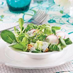Salade crémeuse de concombre et noix de Grenoble - Les recettes de Caty Diet Recipes, Healthy Recipes, Healthy Food, Fresh Rolls, Potato Salad, Tapas, Potatoes, Ethnic Recipes, Calories