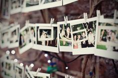 Polaroid photo guest book idea and more via girlywedding.com.  Guests can snap a photo, sign and write a message within minutes.  Hang from string with clothes pins for a rustic chic guest book alternative.