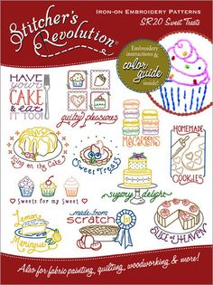 "Sweet Treats Embroidery Transfer @Jennifer Montgomery Nailed it. Either cookies or Icing on the Cake or Lemon Merengue with text changed to ""Lyn's Kitchen"". Your thoughts?"