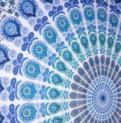 Peacock Mandala Tapestry, Indian Hippie Wall Hanging Bohemian Bedspread Throw #Handmade #BedspreadBedsheetWallHanging