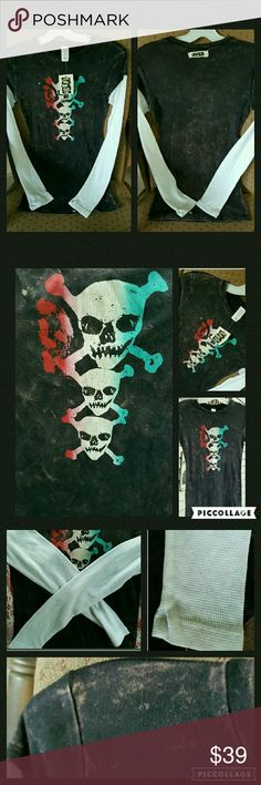 """?? Skull Crossbone ACID WASH tee w/THERMAL sleeve Kitsch at its finest !!! Brand is TEASE  SZ small is a juniors sizing  Msrp $48 Acid wash tee w/skull & crossbones  w/waffle knit THERMAL long sleeves  Made in California USA YAYYYY  TAG reads """" EACH GARMENT IS HAND DONE...VARIATION IS A PART OF THEE BEAUTY...ENJOY EACH GARMENT FOR ITS OWN UNIQUENESS..."""" Body 100% combed cotton  Sleeve 65 cottob/35 polyester  Machine washable  Meaurments on request ReAsonable Offers yes pls do ..pls use good…"""