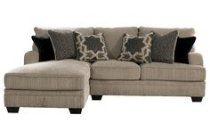 "Katisha - Platinum. Dimensions: 38""W x 68""D x 39""H. Comes in left or right side chaise."