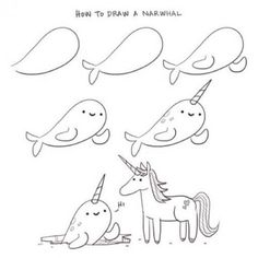 How to draw a narwhal - by Philip Tseng @ supercutekawaii.com