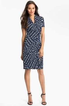 FULL BUST COVERAGE AND ROOM WITH A V-NECK AND TAILORED WAIST.  Karen Kane Spot Cascade Faux Wrap Dress | Nordstrom