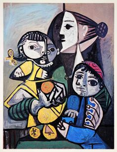 1965 Print Pablo Picasso Mother Children Orange Family Portrait Abstract Art - Period Paper