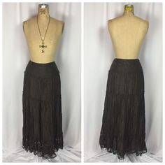 Brown Satin Gold Bead & Lace Witchy Tiered Broomstick Maxi Skirt. Small  | eBay
