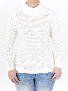 Jersey de punto para mujer de cuello alto, tricotado con elegante punto de fiesta. Liso, mangas largas, con zonas en canalé. 5 colores para llevarte a casa.