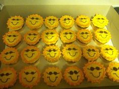 Sun in shades cupcakes. Made for end of the school year.