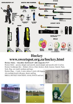 Sweetspot is a sports equipment supplier that supplies a large range of sports. Hockey Bags, Goalkeeper Kits, Hockey Sticks, Netball, Dimples, Sports Equipment, Pens, A4, Balls