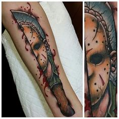 Main shot and detail pic of my Jason Voorhees Done at @trailertrashtattoo
