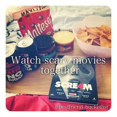 • watch scary movies together • I have to watch all the screams with my friends because I can't do it alone! Scary movies literally scar me for months hehe but I love them too ~ follow @meiyingchow