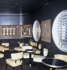 "...The ""Navajo Lounge"", SS United States...clean, sleek, and minimalist decor that would not catch fire...she was a ship !"