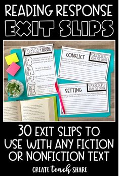Reading Response Exit Slips are perfect for any upper elementary classroom. They give you a chance to quickly assess how students are understanding different comprehension concepts and skills. Reading Workshop, Reading Skills, Teaching Reading, Writer Workshop, Guided Reading Table, Teaching Literature, Reading Centers, Reading Resources, Learning
