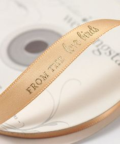 ribbon for love bird wedding theme $22.78 http://thingsfestive.weddingstar.com/product/from-the-love-birds-personalized-ribbon