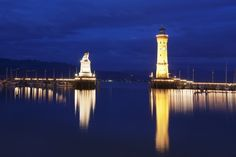 Port with Lighthouse and Sculpture of the Bavarian Lion