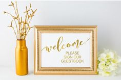 Welcome guest book table sign gold foil print/wedding sign/wedding decoration/ wedding print/ sign our guest book/ guest book gold foil sign by catepaperprints on Etsy https://www.etsy.com/listing/521231966/welcome-guest-book-table-sign-gold-foil