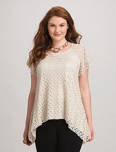 Plus Size Crochet-Lace Top   Dressbarn
