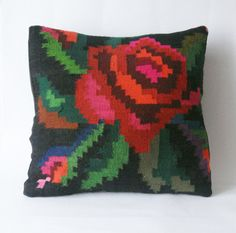 Large Bright Kilim Pillow Cover for Home decor  by folklorelove