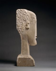 After meeting Constantin Brancusi, in 1909, Modigliani began to carve in stone, resulting in about twenty-five known sculptures. These abstracted, elongated heads had a significant stylistic impact on his subsequent figure and portrait paintings