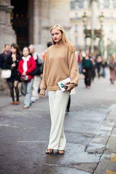 oversized knit + wide-leg pants + statement shoes