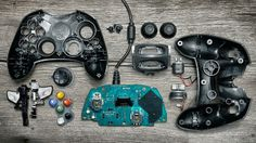 """Canadian photographer Brandon Allen dissected several video game controllers to create this amazing series. """"Each controller was used and often played until it was no… Consoles, Toronto, Arcade, Exploded View, Nintendo, Collections Photography, Xbox Controller, Classic Video Games, Digital Detox"""