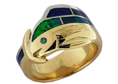 Mahi Mahi Ring  18 carat yellow gold and Palladium with blue/green diamond and blue/green opal inlay.